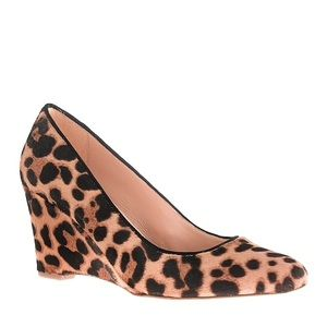 J.crew Martina Leopard Calf Hair Wedges